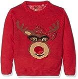 Mädchen Christmas Sweater Rudolf mit Schleife