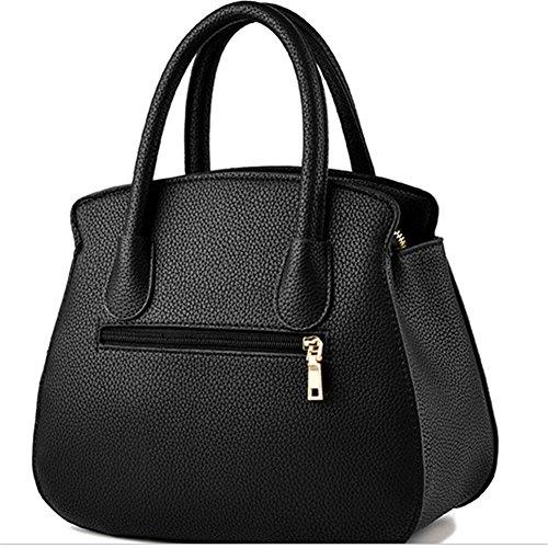 SHUhua Damen Messenger Bag Leder Damen Geldbörse Tote Handtasche für Mädchen Dunkelpink