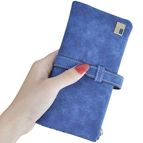 XKMON In pelle Nabuk lunga cerniera borsa del portafoglio delle donne di modo di Lady Portafogli 189 Marrone Blu
