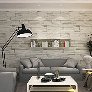 Hanmero rural style imitation brick wall pattern looks real up wallpaper 20 8 - Tapisserie gris clair ...