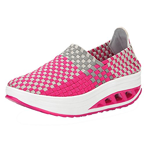 Lady Hot Pink Leder (Mymyguoe Damen Bunte Gewebte Schuhe Leichte Laufschuhe Sneakers Einzelne Schuhe beiläufige Frühling und Herbst Geflochtenes Seil Low Schuhe Schlüpfen Gemütlich rutschfest (Nicht gewebt Hot Pink, 36))