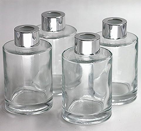 Feel Fragrance Bouteilles de diffuseur en verre Ensemble de 4 - 4,2 pouces de haut, 120ml 4,06 onces. Accessoires de parfum pour les kits diy Reed diffuseur Reed avec des huiles essentielles, Reed Sticks.