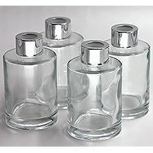 Feel Fragrance Botellas de difusor de vidrio Juego de 4 - 4,2 pulgadas de alto, 120ml 4,06 onzas. Los accesorios de la fragancia utilizan para los sistemas del difusor de Reed del reemplazo de Diy con los aceites esenciales, palillos de lámina.