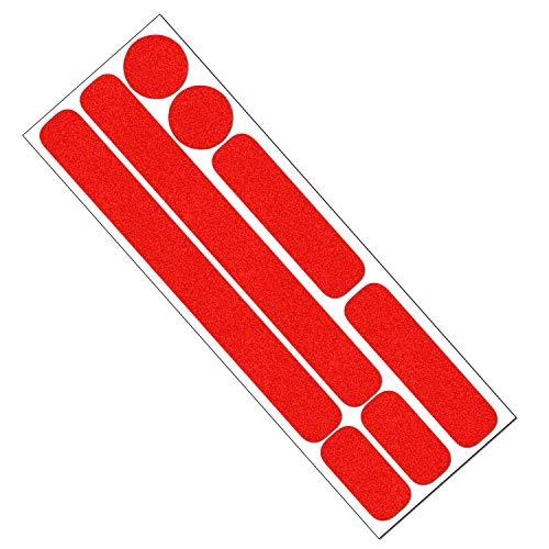 Reflektor Aufkleber Set für Fahrrad, Helm, Anhänger oder Laufrad, reflektierende Aufkleber (rot) -