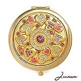 Specchio compatto di Electroplate 24k dell'oro da Jinvun: specchio di trucco della borsa di viaggio durevole con il disegno di lusso, l'ingrandimento & il regalo di gioiello-riflesso unico-libero