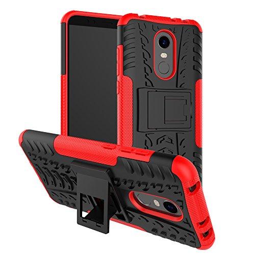 SPAK Xiaomi Redmi 5 Plus Funda,Silicona Gel TPU Interna y PC Cubierta Diseño de la Armadura Híbrida de Doble Capa de Protección Shell Duro Caso de la Contraportada para Xiaomi Redmi 5 Plus (Rojo)