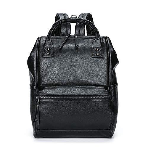 Vintage PU Leder Rucksack Damen Elegant Daypack College Backpack Schule Taschen für Männer und Frauen (Schwarz-f)