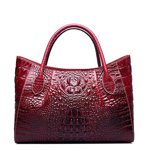 Jsix Borse in Vera Pelle Borse a Tracolla Donna Croc Paten Designer Rosso