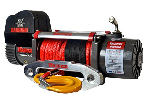 Warrior Winch WW800SA12 Elektrische Seilwinde Warrior Samurai S8000 3,6 t 12 V Kunststoffseil Funkfernbedienung Batterietrennschalter Grau-Schwarz