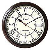 Artshai 12 inch big dial antique look wooden wall clock,1 year warranty, both roman and normal numbers,silent