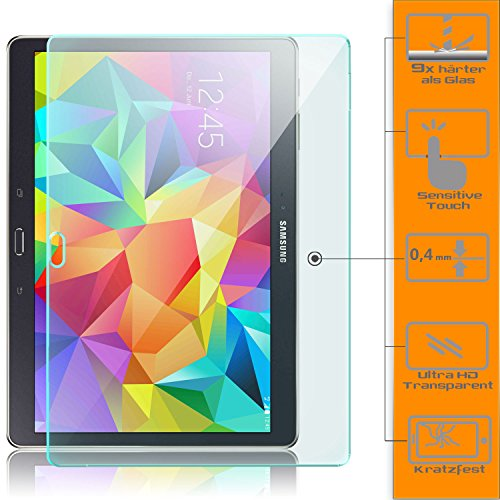 Saxonia. Displayschutz Folie aus Gehärtetem Glas für Samsung Galaxy Tab S 10.5 (SM-T800 T805) Glasfolie Hartglas | HD Klar Transparent