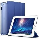 ESR Funda iPad 2/3/4 [Auto-Desbloquear] Función de Soporte [Botones Protegidos] Carcasa Ligera Antigolpes de Cuero Sintético y Plástico Duro Esmerilado Funda Smart Case para Apple iPad 2/ iPad 3/ 4ª Generación- Azul