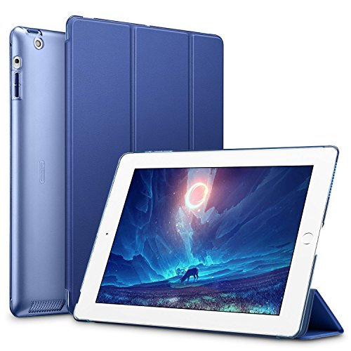 ESR Custodia per iPad 2 Cover, Ultra Slim Smart Cover Auto Wake/Sleep Function Stand-Fold PU Leather Case Cover with Transparent Backside for iPad 2 / iPad 3 / iPad 4 Blu