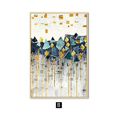 zgmtj Nordic Geometría Abstracta Paisaje de Montaña Arte de la Pared Pintura de la Lona Golden Sun Art Impresión del Cartel Imagen de la Pared para la Sala