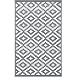 Green Decore Wendbarer Öko-Teppich aus recyceltem Kunststoff (Plastik) für Innen und Außen / Federleicht - 120 x 180 cm Grau / weiß