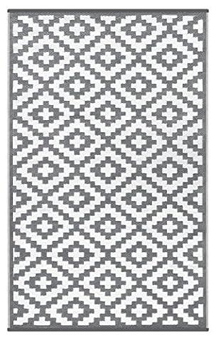 GD Home Lightweight Indoor/Outdoor Reversible Plastic Rug - 180 x 270 cm Grey/White