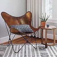 TUZECH Vintage & Arm Butterfly Chair   Genuine TanButterful Chair Home Decor   Handmade Chair Medium Brown