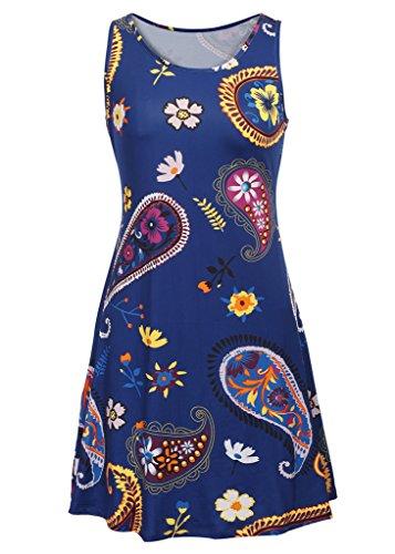 Haodasi Sommerart und weise Frauen-Weinlese-Blumendruck-Kleid-Sleeveless langer Rock Blue