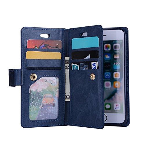 iPhone 6/6S Plus Custodia a portafoglio con 9 porta carte di credito, Moon mood® Libro Cuover Protettiva per Apple iPhone 6/6S Plus 5.5 pollice Leather Wallet Case Shell Cover con Stand Supporto integ Blu