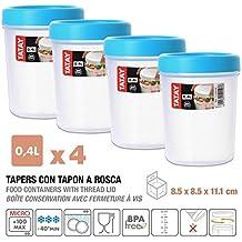 Tatay 1160500 Lote de 4 Tapers 0.4 L. con Rosca Azul Turquesa