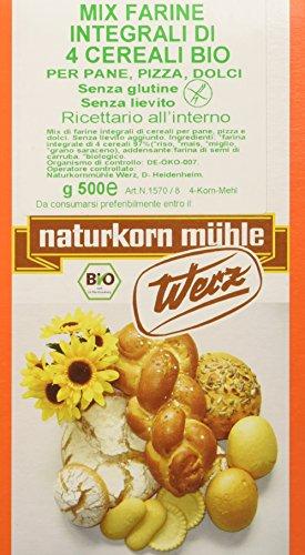 Probios Mix Farine Integrali di 4 Cereali per Pane, Pizza, Dolci senza Lievito - 500 gr - Pane Lievito Per Dolci