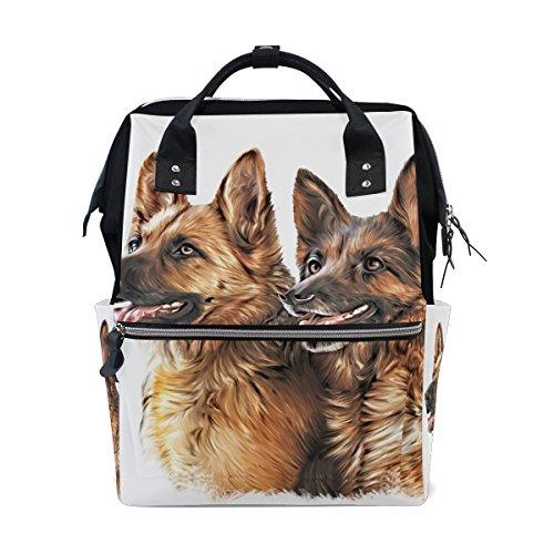 COOSUN Zeichnung Hund Schäferhund Nappy Wickeltasche Windel Rucksack mit Insulated Taschen Stroller Straps, große Kapazitäts-Multi-Funktions-stilvolle Windel-Tasche für Mama Dad Außen Groß mehrfarbi