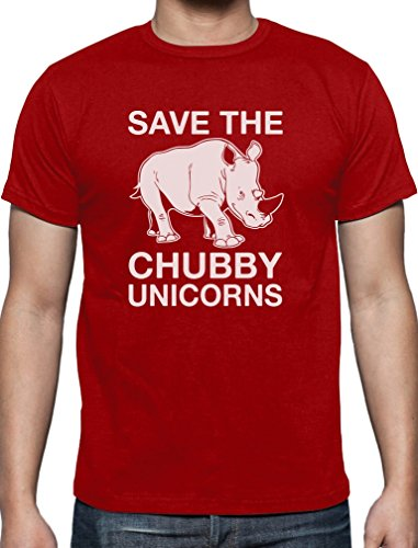 Lustiges Geschenk Save the Chubby Unicorn T-Shirt Rot