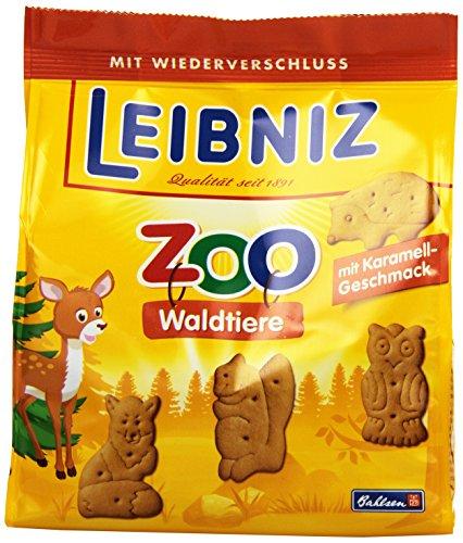 """Leibniz ZOO Waldtiere im 12er Pack — Mini-Butterkekse in der Großpackung — Karamell-Kekse"""" Tiere"""" für Kinder — Kinderkekse in der Vorrats-Box (12 x 125 g)"""