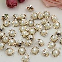 Botón redondo del borde del oro de la perla de la resina 20pcs que costura Accesorios del arte de DIY 13m m