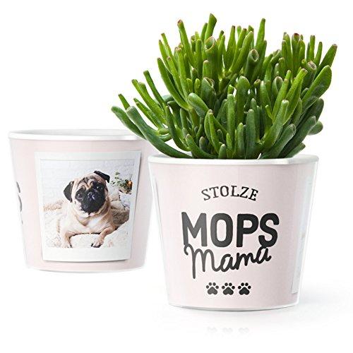 Mopsmama Geschenk Blumentopf (ø16cm) | Geschenkidee für Hund und Frauchen mit Bilderrahmen für zwei Fotos (10x15cm) | Stolze Mops Mama - Mops-fotos