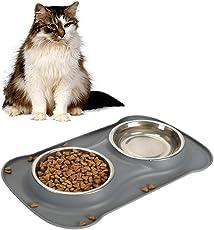Sicherer Haustierbehälter aus Silikon,die sich fuer Haustiere eignen, behaeltet eine rutschfeste Anti-Überlauf-Silikonkissen und 2Schalen aus Edelstahl.Es hat 3 Modelle von Schalen mit Tpyen Kapazität