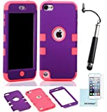 iPod Touch 5th 6th Generation Case, iPod Touch 5/6 Case Genuine ZAFOORAH Hybrid Shockproof Hard Defender 3 Layers with 3 Bonus items Stylus, Screen Protector, Microfiber Cloth (Double Clip - 3 Layers - Purple/Dark Pink)