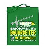 Hochwertiger Jutebeutel (mit langen Henkeln) - Bauarbeiter Shirt · Geschenk Bagger Fans · Baustelle · Spruch: Bier wurde für uns gemacht