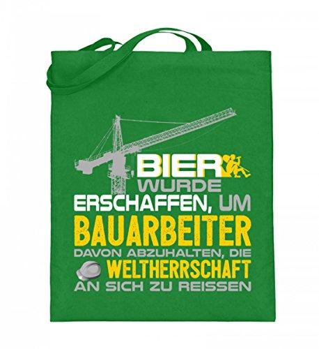 Borsa In Juta Di Alta Qualità (con Manici Lunghi) - Bau - La Birra È Stata Fatta Per I Lavoratori Edili Verde Chiaro
