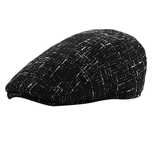 Zhuhaitf Men's Adjustable Newsboy Cabbie Driving Barette Hat Thicken Tweed Flat Cap for Winter (Tweed-newsboy)