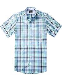 Maerz Herren Hemd Baumwolle Oberhemd kariert, Größe: 39/40, Farbe: blau grün