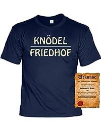 """Knödel Friedhof! Geile Sprüche Fun T-Shirt - mit einer Gratis """"Spassvogel"""" Urkunde!"""