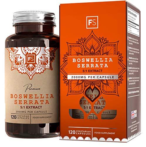 Boswellia Serrata Extrakt (FS Weihrauch-Kapseln Hochdosiert | Boswellia serrata 5:1 Extrakt - 2000 mg pro Kapsel | 120 vegane Kapseln | Gegen Schmerzen & Entzündungen | Keine Zusatzstoffe - Ohne GVO, Gluten & Milch)