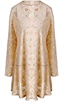 Meaneor Women's Long Sleeve Lace Crochet Knitted Sheer V Neck Waterfall Cardigan
