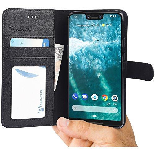 Pixel 3 XL Hülle [Schwarz] Tasche Pixel 3XL Brieftasche [Abacus24-7® Bookstyle] Handy-hülle/Leder-Tasche mit Ständer Fächern für Karten Bargeld, Handytasche Pixel 3 XL Case Cover