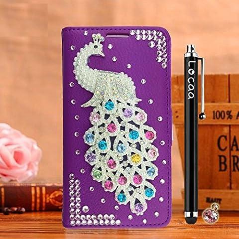 Locaa(TM) For Samsung Galaxy S6 Edge Plus S6Edge+ 3D Bling Paon Case Coque Fait filles Cuir Qualité Housse Chocs Étui Couverture Protection Cover Shell Phone [Paon 2] Violet - Paon Perle