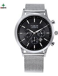 Quartz Watch 4 Colors Waterproof Men Round Wristwatch Quartz Analog Watch With Stainless Steel Mesh Strap(#-Black)