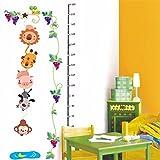 Bomeautify Wandtattoos Wandbilder Abnehmbare Kinderzimmer Höhe Füße Baby Schlafzimmer Wandaufkleber Cartoon Tier Höhe Aufkleber, 60 * 90cm