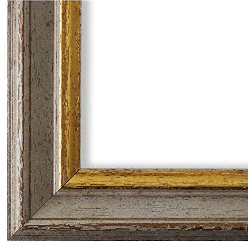 Online Galerie Bingold Bilderrahmen Beige Grau Gold 60x80-60 x 80 cm - Antik, Barock, Vintage - Alle Größen - handgefertigt in Deutschland - WRF - Forli 3,7 -