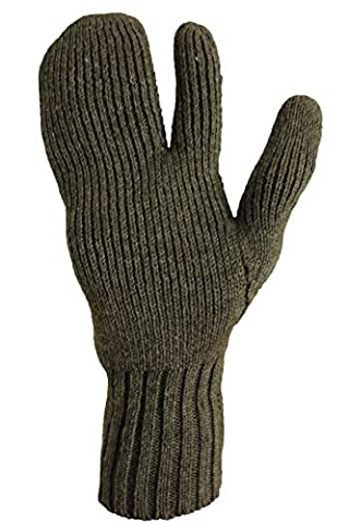 Genuine Swedish Army Issue Combat Winter Knitted 3 Finger Wool Gloves Olive Mitts