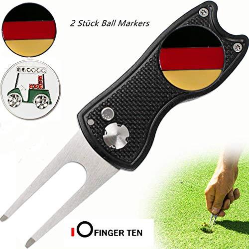 FINGER TEN Golf Divot Repair Werkzeug Mit 2 Ball Markers Switchblade Zubehör Geschenkpackung Foldable Magnetic Rostfrei Stahl Mit Pop up Button Für Herren Damen (Schwarz Divot Tool +2 Ball Marker) -
