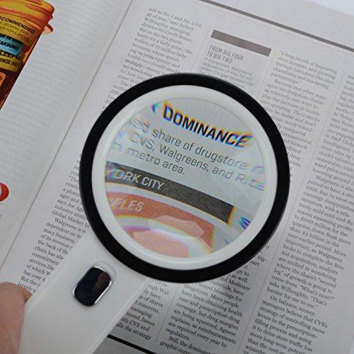 Extra große 12LED mobile Lupe und Licht, XYK 20X Beste Jumbo Größe beleuchtete Lupe für Lesen, Inspektion, erkunden, Hobbys und mehr (weiß). - 6