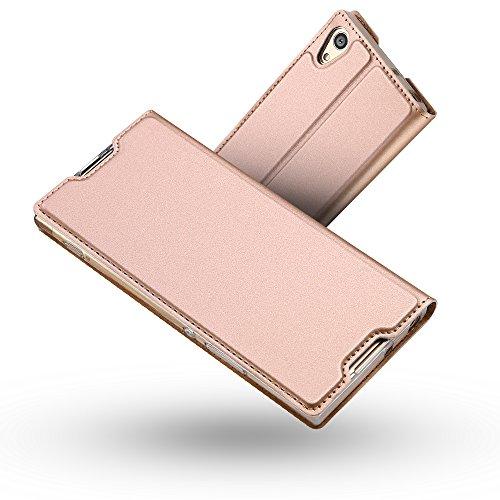 Radoo Sony Xperia XA1 Ultra Hülle, Premium PU Leder Handyhülle Brieftasche-Stil Magnetisch Klapphülle Etui Brieftasche Hülle Schutzhülle Tasche für Sony Xperia XA1 Ultra (Rose Gold)