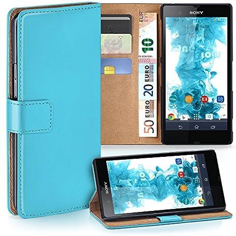 Sony Xperia Z Hülle Türkis mit Karten-Fach [OneFlow 360° Book Klapp-Hülle] Handytasche Kunst-Leder Handyhülle für Sony Xperia Z Case Flip Cover Schutzhülle Tasche