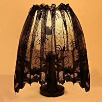 Gaddrt 3 in 1 Halloween Knitted Curtain Lamp Cover Spider Bat Lace Black with Ribbon